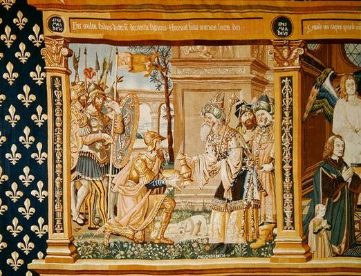 Abraham receiving bread and wine from Melchizedek, detail from a tapestry dedicated to the Eucharist, 1510