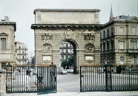 View of the Arc de Triomphe on the Promenade de Peyrou, building begun in 1684 and completed in 1776