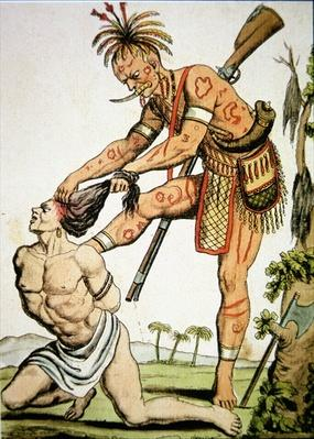 An Iroquois warrior scalping a white victim