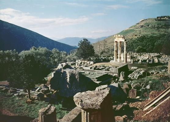 Panoramic view of the site with the tholos temple at the Sanctuary of Athena Pronaia