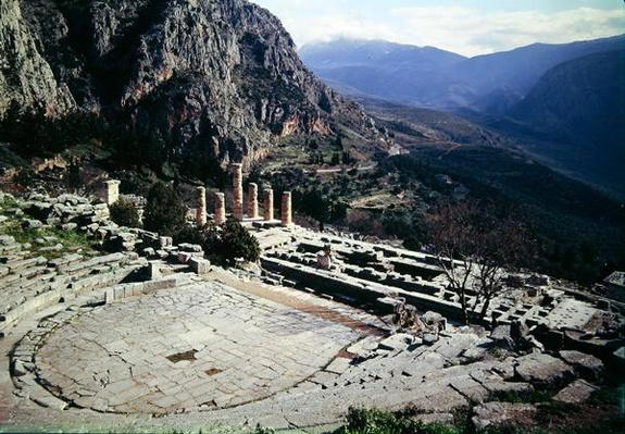 Panoramic view of the archaeological site with the theatre at the Temple of Apollo