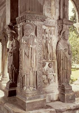 Figures of SS. Peter, Trophime and John on a pillar in the cloister