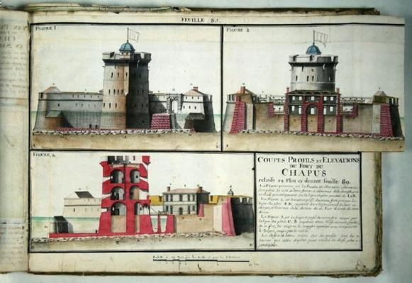 Atlas 131 F fol.85 Cross-section and elevations of the Chapus Fort, from 'Traite de Fortifications', c.1720