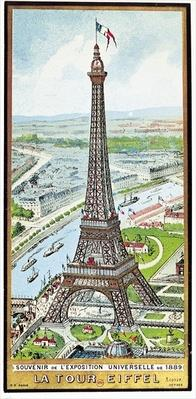 Postcard depicting the Eiffel Tower at the Exposition Universelle, 1889