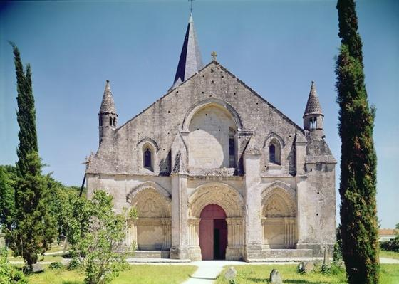View of the facade of the Church of St. Pierre, 1150-75