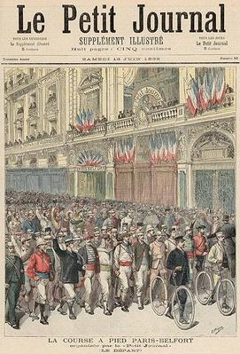 The Start of the Road Race from Paris to Belfort, from 'Le Petit Journal', 18th June 1892
