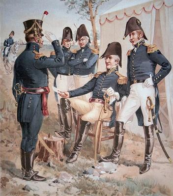 General Andrew Jackson (1767-1845) and his Staff in the field, 1818 (colour litho) by Ogden, Henry Alexander (1856-1936)