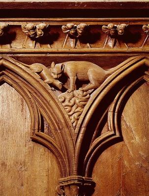 A cat and mouse, from a choir stall