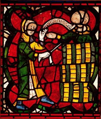 Window depicting a barrel seller, c.1300