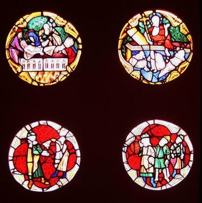Four windows depicting scenes from the Life of Christ, from the Chapelle du Rosaire