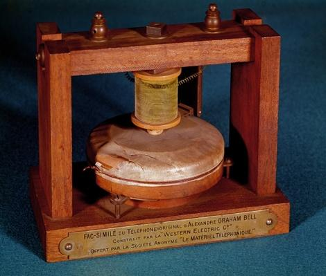 Facsimile of the telephone invented by Alexander Graham Bell