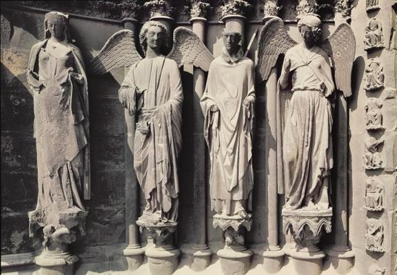 St. Nicasius with angels, Jamb figures from the west portal