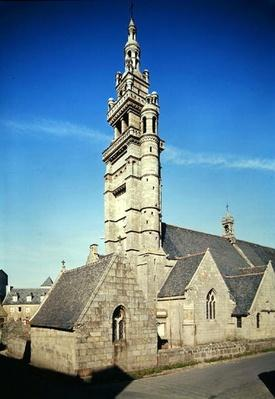 View of the belltower of the Church of Notre-Dame de Kroaz-Baz, built c.1550