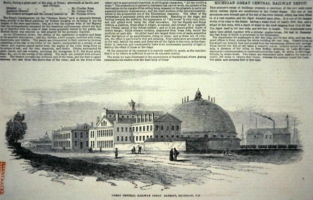The new Great Central Railway Depot at Detroit, Michigan, printed in the 'Illustrated London News', 9th February 1850