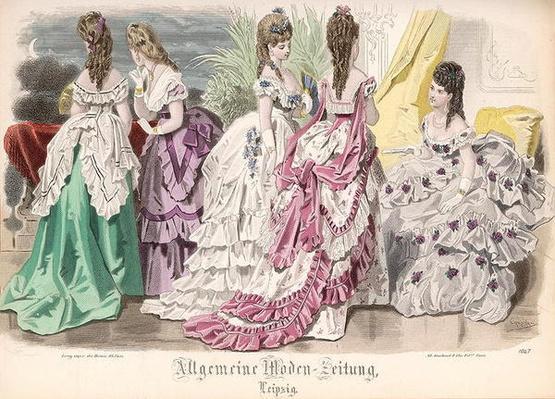 Ballgowns, fashion plate from the 'Allgemeine Moden-Zeitung', Leipzig, 1872