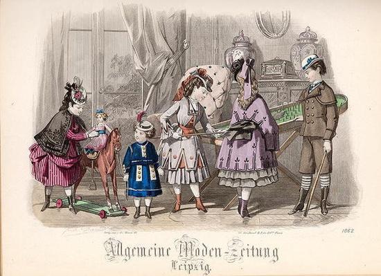 Children at Play, fashion plate from the 'Allgemeine Moden-Zeitung', Leipzig, 1872