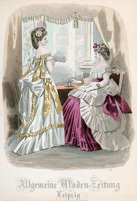 Two Ladies, fashion plate from the 'Allgemeine Moden-Zeitung', Leipzig, 1872