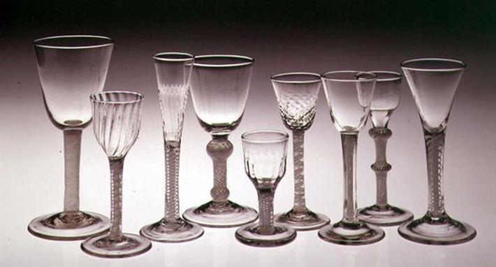 Collection of glasses with opaque twist stems, 1760-75