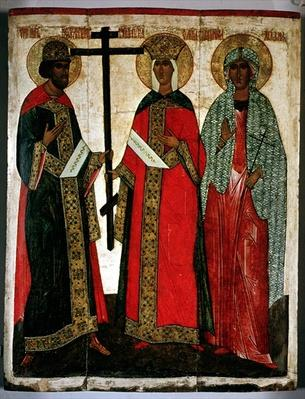 Icon depicting SS. Constantine, Helena and Agatha, Novgorod School, c.1500