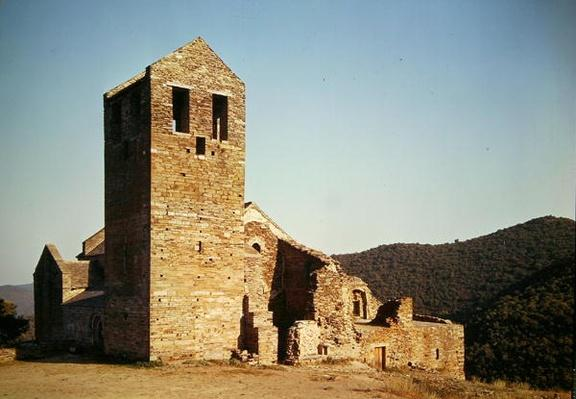 View of the west facade of the Priory of Saint-Marie de Serrabona, built 10th-11th century