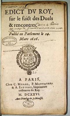 Frontispiece from 'Edict du Roy sur le Faict des Duels et Rencontres', March 1626
