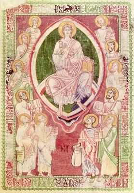 Ms 132 fol.2r Christ with the twelve minor prophets, from 'Explanatio in Prophetas et Ecclesiasten' by St. Jerome, from Citeaux Abbey