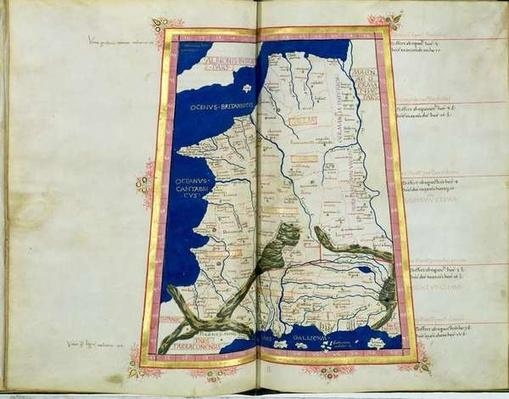 Ms Lat 463 fol.81v-82r Map of Gaul, Belgium, Lyon and Aquitaine