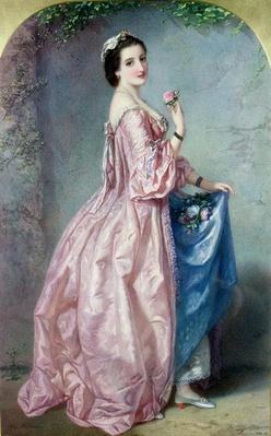 Lady holding Flowers in her Petticoat, 19th century
