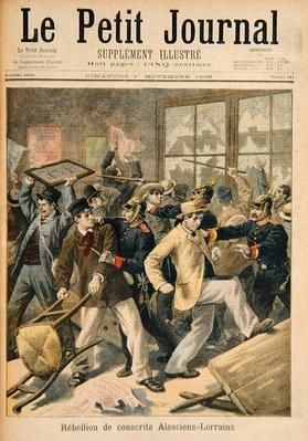 Rebellion of conscripts from Alsace-Lorraine, from 'Le Petit Journal, 1st November 1896