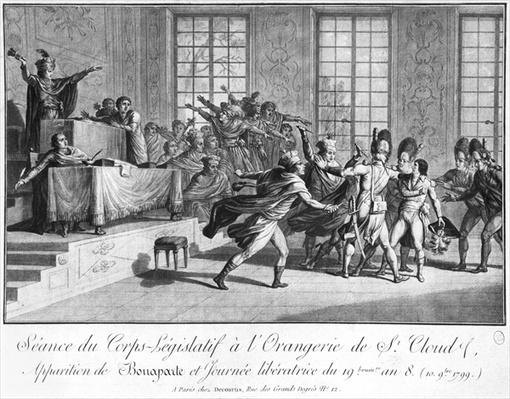 Session of the Legislative body at St.Cloud's Orangery, arrival of Bonaparte