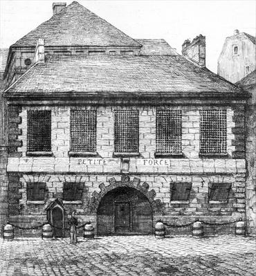 Entrance of the prison 'La Petite Force', rue Pavee in Paris, 1850