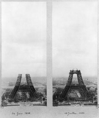 Two views of the construction of the Eiffel Tower, Paris, 14th June and 10th July 1888