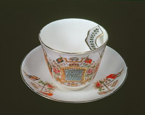 Moustache cup commemorating Victoria's Diamond Jubilee, 1897