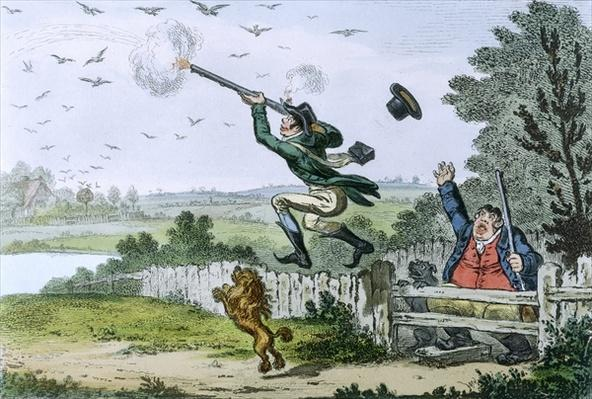 Cockney Sportsmen: Shooting Flying, engraved by James Gillray