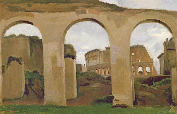 The Colosseum, seen through the Arcades of the Basilica of Constantine, 1825