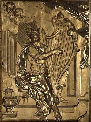 David playing the harp, detail from the organ case in the Chapel