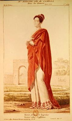 Madame Morandi in the role of Camille, from Act I Scene 2 of 'Horatii' by Pierre Corneille