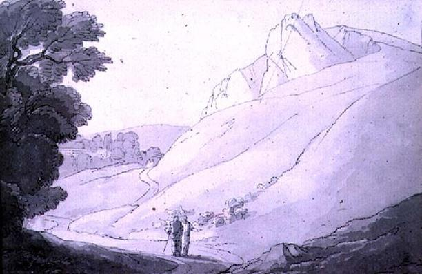 A Hilly landscape with two figures