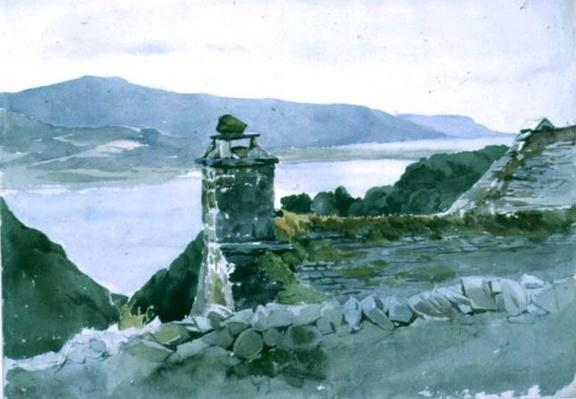 A hilly bay, seen from a wall over a roof, 19th century
