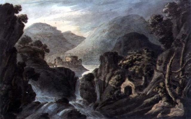 Classical landscape with cascade