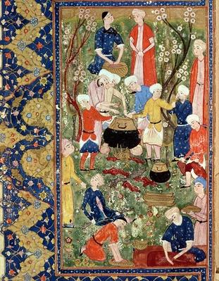 Preparing a meal, illustration from an epic poem by Hafiz Shirazi, Safavid