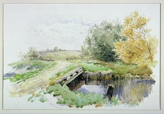 Landscape with bridge over a stream