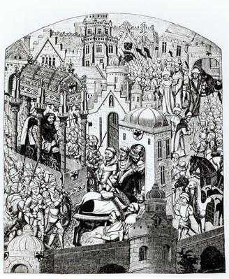 Facsimile of the Coronation of Charlemagne in the City of Jerusalem from the 'Chroniques de Charlemagne'