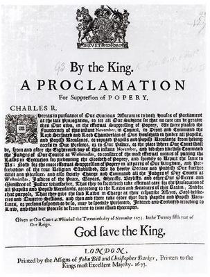 Royal Declaration, 1675