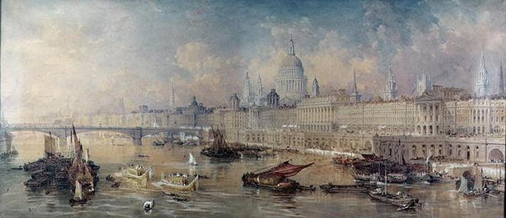 Design for the Thames Embankment, view looking upstream