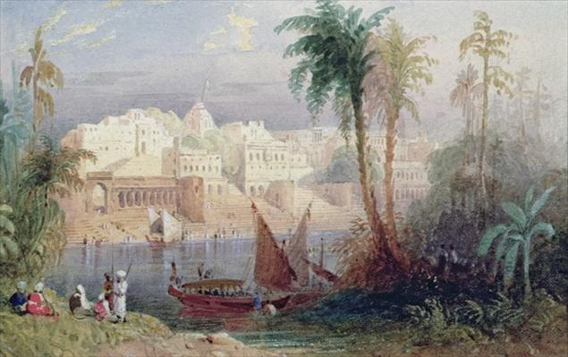 A View of an Indian city beside a river, with boats on the river and figures in the foreground