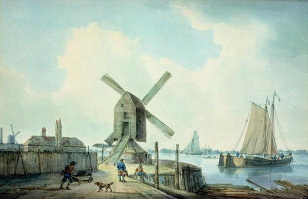 A Shore Scene with Windmills and Shipping