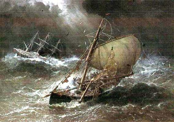 Storm in the North Sea, with Smack & Barque