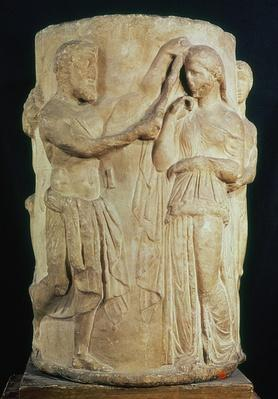 Cylindrical altar depicting the sacrifice of Alceste