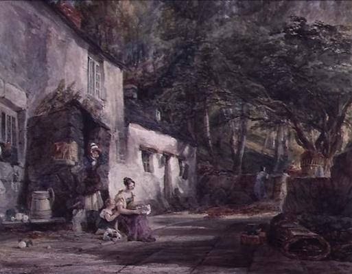 A Cottage in North Wales, with Figures